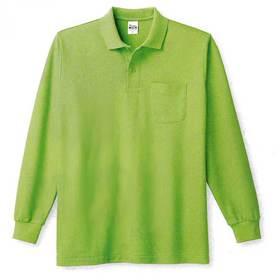 鹿の子長袖ポロシャツ(胸ポケットつき)の画像